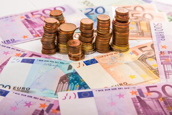 Geld euro munten bankbiljetten achtergrond metaal Stockfoto © Fesus