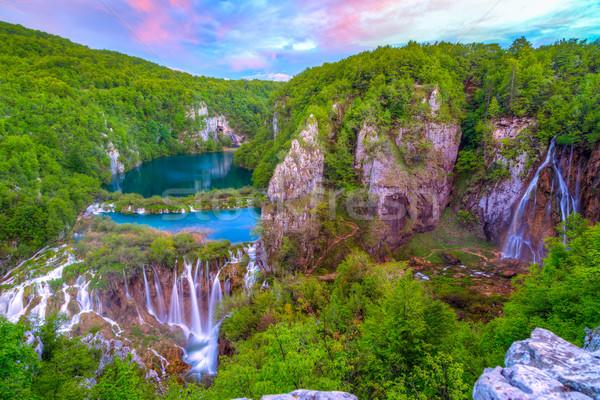 Vízesések park Horvátország víz fa erdő Stock fotó © Fesus