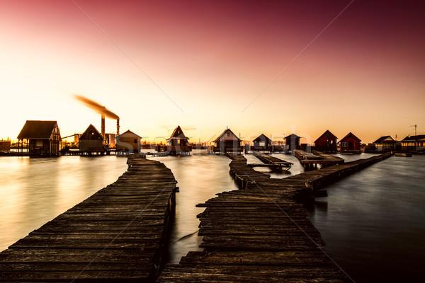 Sunset lake Bokod with pier Stock photo © Fesus
