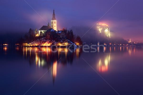 Tó tél Szlovénia Európa befejezés nap Stock fotó © Fesus