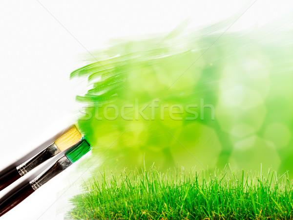 Stockfoto: Kunstenaar · borstel · schilderij · foto · mooie · landschap
