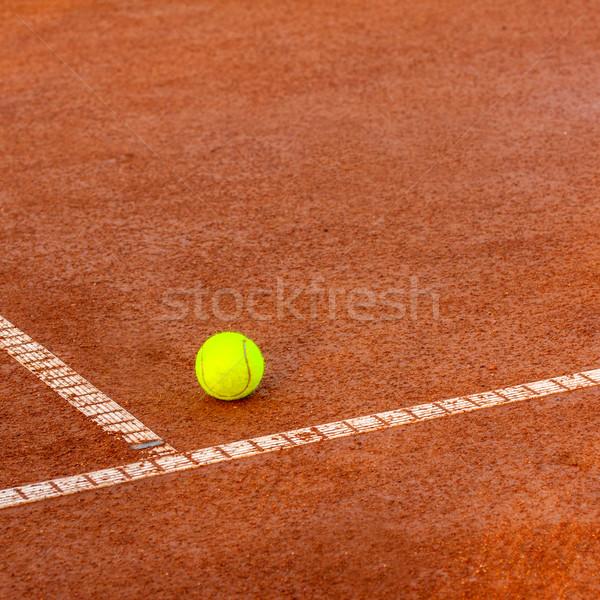 Tennisbal tennisbaan tennis klei rechter sport Stockfoto © Fesus