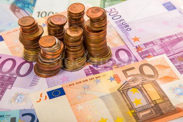 Stockfoto: Geld · euro · munten · bankbiljetten · achtergrond · metaal