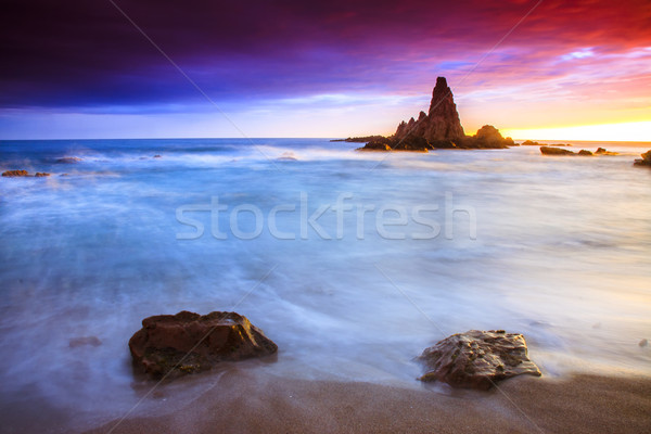 Sunset on the coast of the natural park of Cabo de Gata Stock photo © Fesus