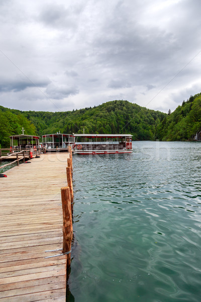 Ferry boats on Plitvice lakes pier, Croatia. Stock photo © Fesus