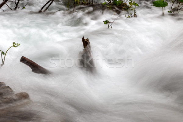 Closeup of Soft water cascading over mountain rocks. Stock photo © Fesus