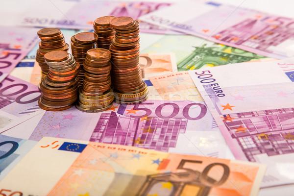 Argent euros pièces fond métal Photo stock © Fesus