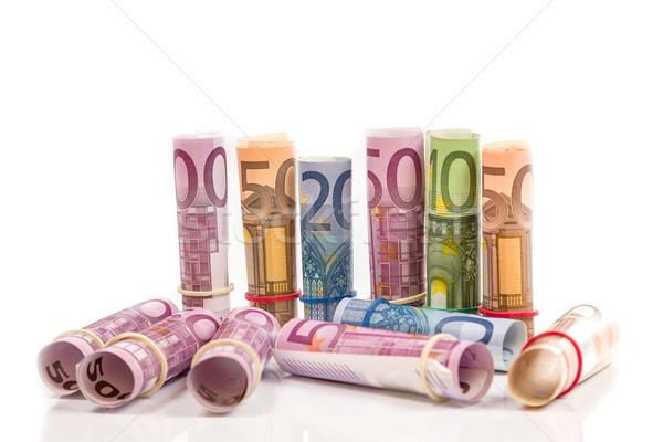 Tekert felfelé Euro számlák pénz papír Stock fotó © Fesus