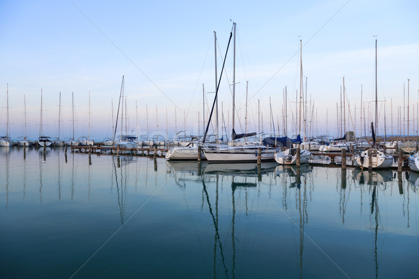 Sailing boats in the marina, lake Balaton Stock photo © Fesus