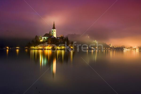 Göl kış Slovenya gece Avrupa su Stok fotoğraf © Fesus