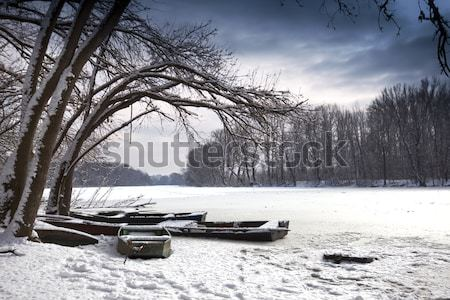 冬 湖 風景 水 光 雪 ストックフォト © Fesus
