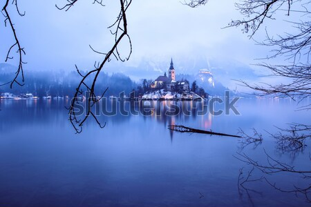 Bled With Lake In Winter Slovenia Europe Stock Photo