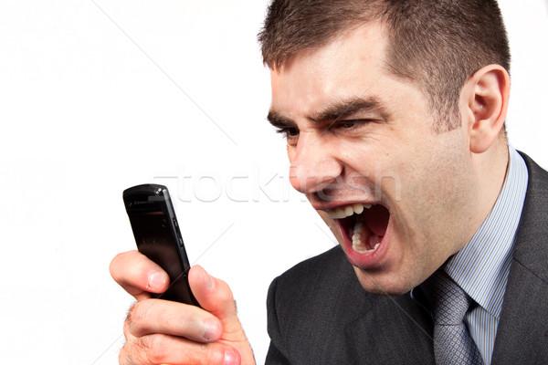 Empresario gritando teléfono oficina teléfono Foto stock © Fesus