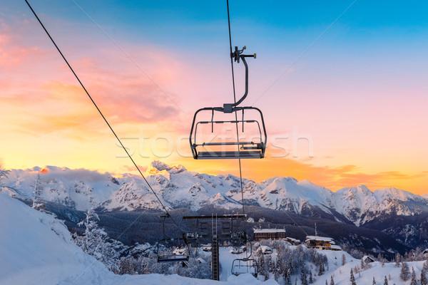 Hiver montagnes panorama ski centre Slovénie Photo stock © Fesus