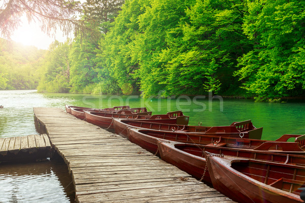 Boats in Plitvice lakes and pier, Croatia.  Stock photo © Fesus