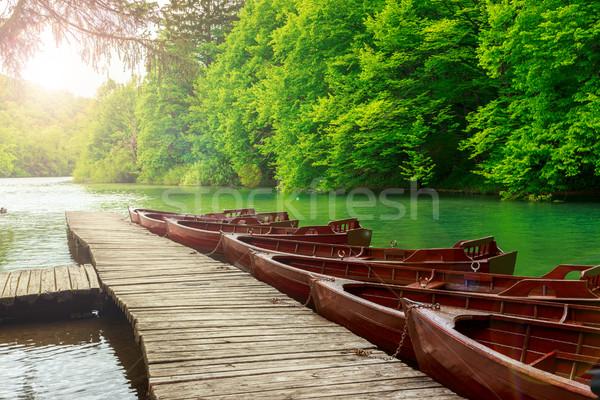 łodzi molo Chorwacja lasu charakter krajobraz Zdjęcia stock © Fesus