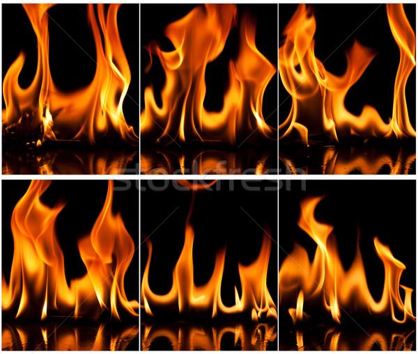Ognia zestaw płomień charakter pomarańczowy przestrzeni Zdjęcia stock © Fesus