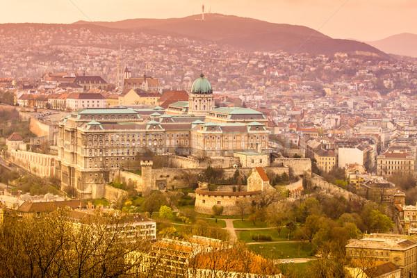 Budapeşte kale gün batımı Macaristan turuncu mavi Stok fotoğraf © Fesus