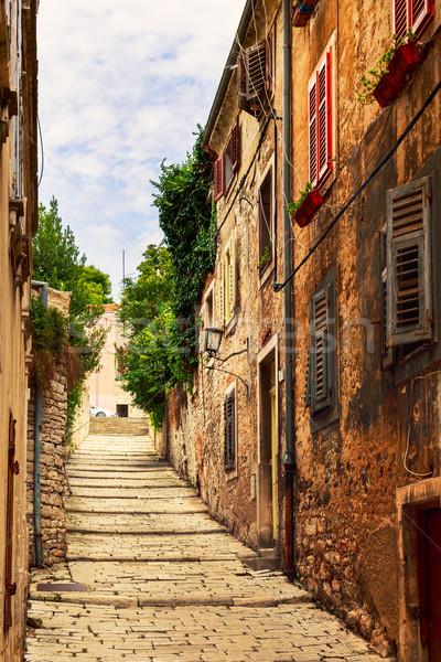 Kényelmes keskeny utcák középkori óváros Horvátország Stock fotó © Fesus