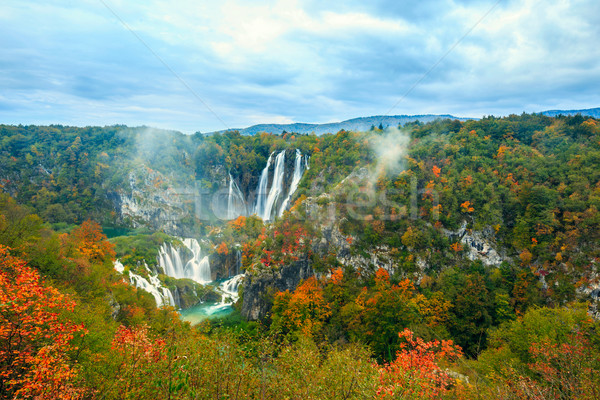 Autum colors and waterfalls of Plitvice National Park Stock photo © Fesus