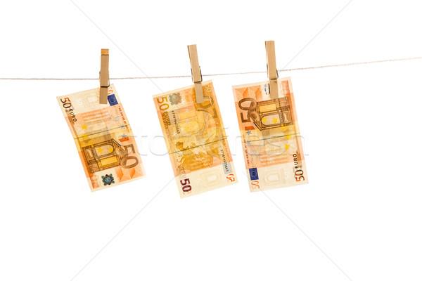 Euros argent isolé blanche affaires Photo stock © Fesus