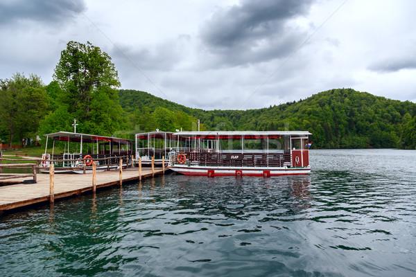 Zdjęcia stock: Prom · łodzi · molo · Chorwacja · wody · drewna