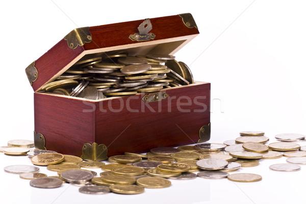 груди монетами бизнеса деньги древесины Сток-фото © Fesus