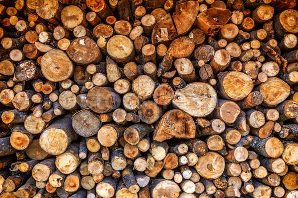 Drogen gehakt brandhout klaar winter hout Stockfoto © Fesus