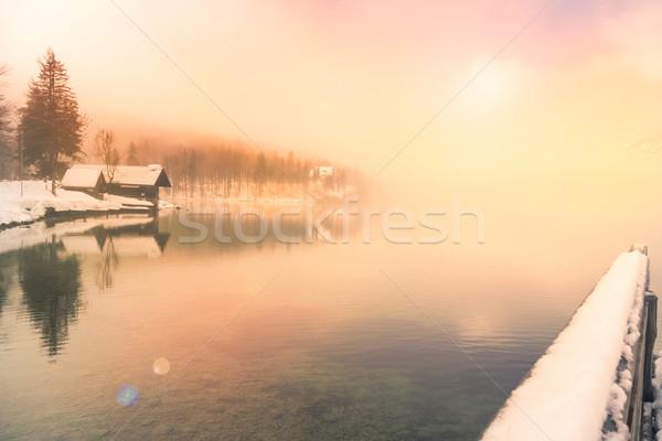 Winter time in lake Bohinj-Slovenia Stock photo © Fesus