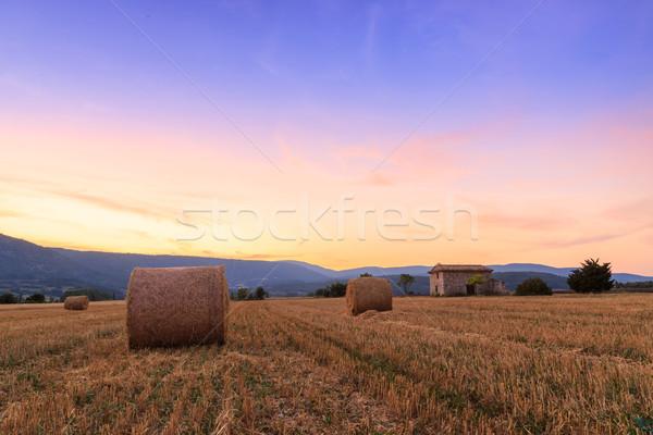 закат фермы области сено небе пейзаж Сток-фото © Fesus