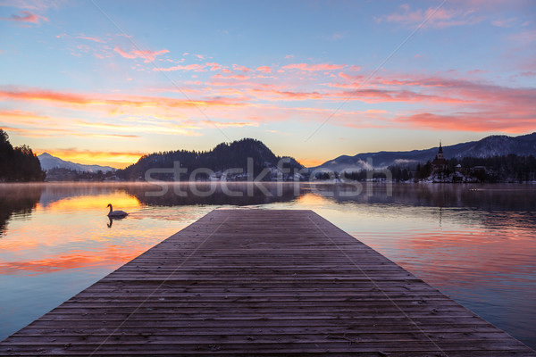 Incroyable sunrise lac hiver Slovénie Europe Photo stock © Fesus