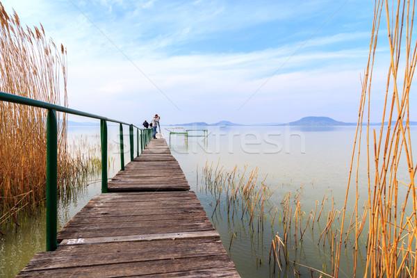Molo spokojny jezioro Balaton niebo Zdjęcia stock © Fesus