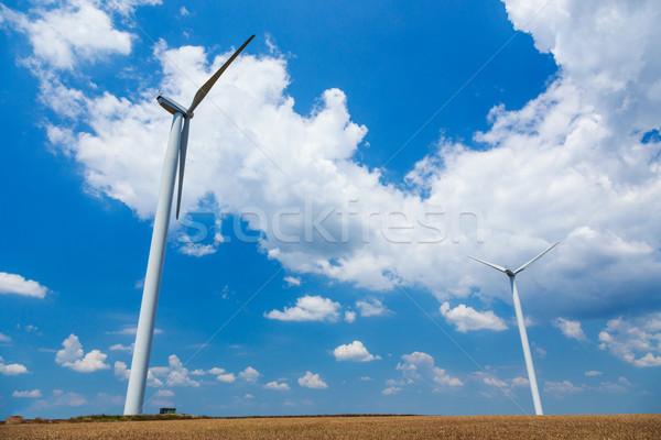 Stockfoto: Wind · Roemenië · technologie · veld · Blauw