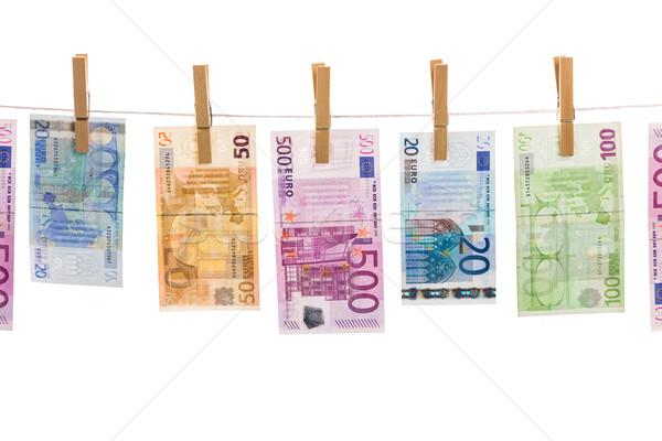 Stockfoto: Euro · geld · waslijn · geïsoleerd · witte · business
