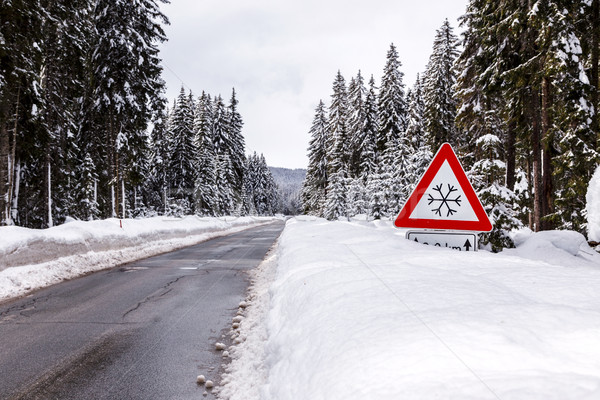 Snowy winter road Stock photo © Fesus