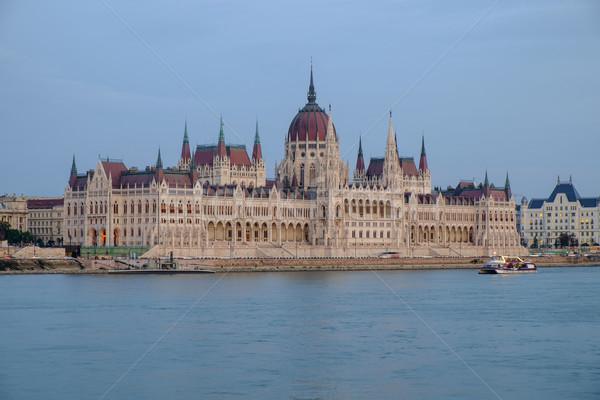 парламент здании ночь закат Будапешт Сток-фото © Fesus