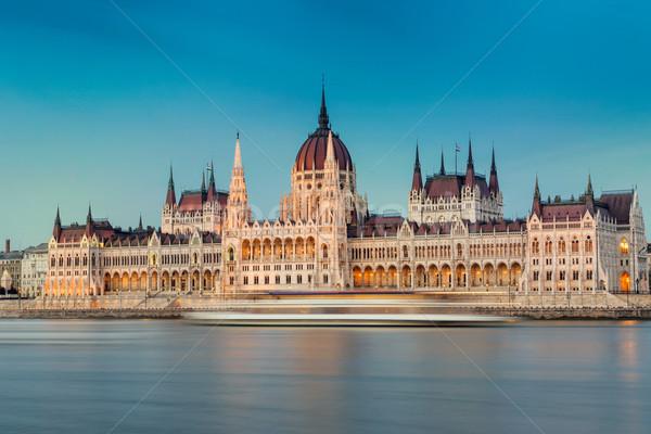 ハンガリー語 議会 建物 日没 ブダペスト ハンガリー ストックフォト © Fesus