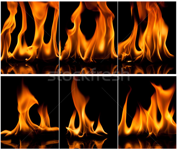 Feuer Set Flamme Natur orange Raum Stock foto © Fesus
