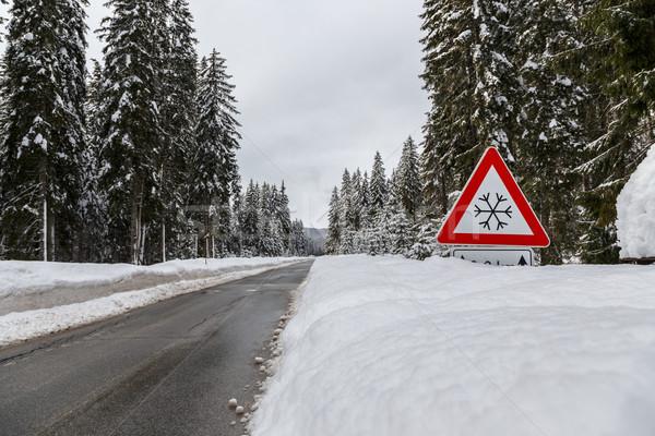 Kış yol Slovenya alpler manzara kar Stok fotoğraf © Fesus