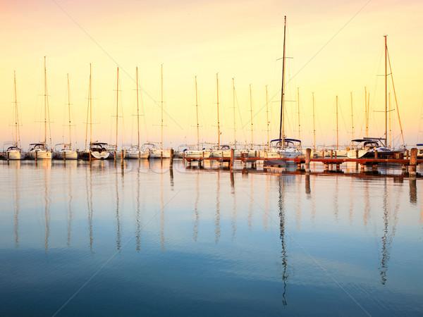 żeglarstwo łodzi marina jezioro Balaton drewna Zdjęcia stock © Fesus