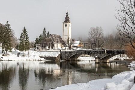 Invierno lago parque valle agua carretera Foto stock © Fesus