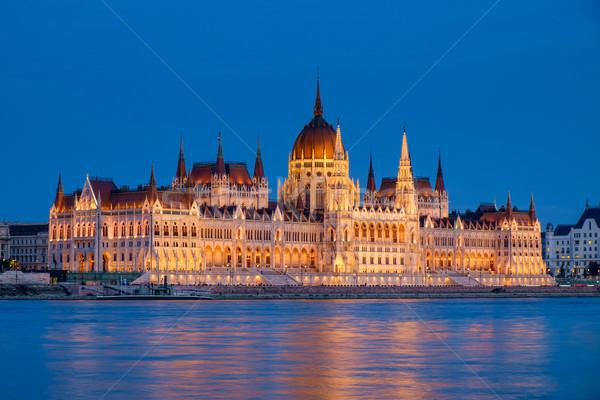 Parlament Budapest Magyarország éjszaka magyar épület Stock fotó © Fesus