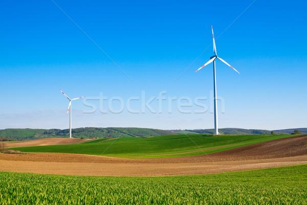 Vent énergie turbine centrale électrique rural ciel Photo stock © Fesus