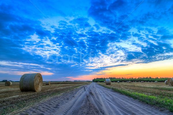 Naplemente vidéki út széna farm mező Stock fotó © Fesus