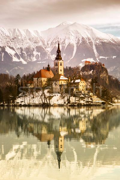 Meer kerk onderstelling klein eiland Slovenië Stockfoto © Fesus
