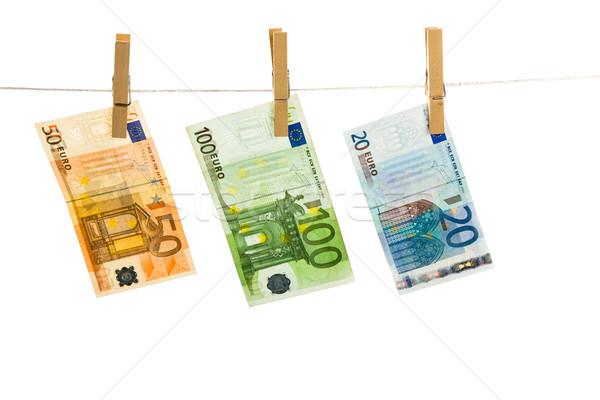 Euro geld waslijn geïsoleerd witte business Stockfoto © Fesus