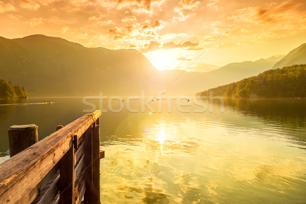 Sunset on the lake Bohinj Stock photo © Fesus