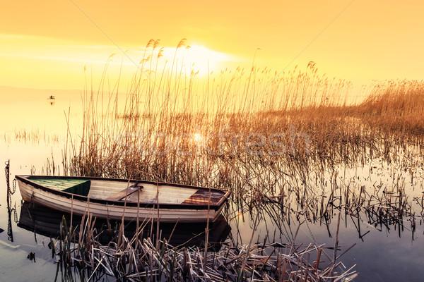 Coucher du soleil lac Balaton bateau Hongrie été Photo stock © Fesus