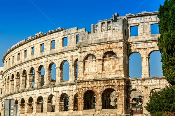 ünlü amfitiyatro Hırvatistan eski Roma Stok fotoğraf © Fesus