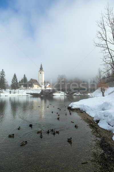 Church of St. John the Baptist and a bridge Stock photo © Fesus